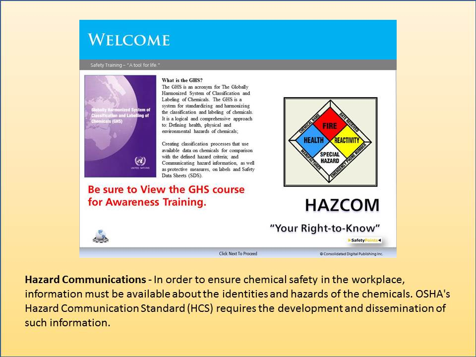 SCORM: Hazcom - Your Right to Know Course, SafetyPoints